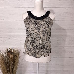 Maurices Black & Tan Floral Tank - S